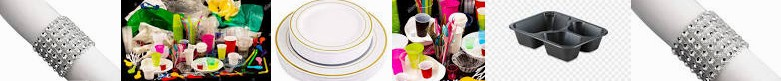- Wedding, Tableware STYLE for Disposable : Plastic Gold TABLEWARE 300 Dinner Rim Meat Plates cutler
